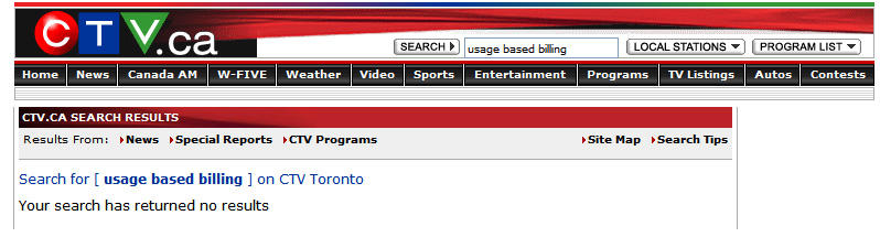 Screenshot: CTV Usage Based Billing Search