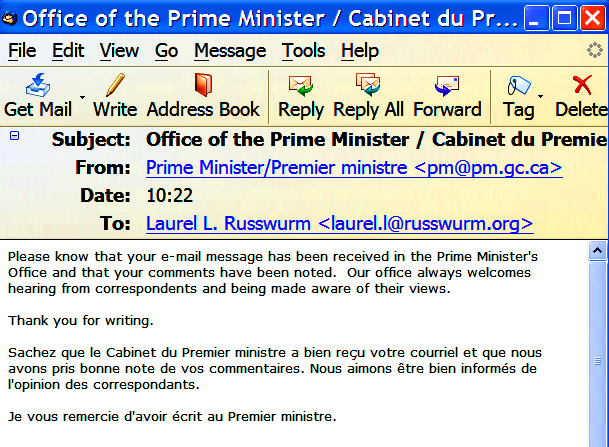 My email from the PMO