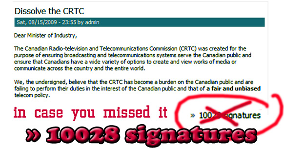 dissolve the crtc signature count