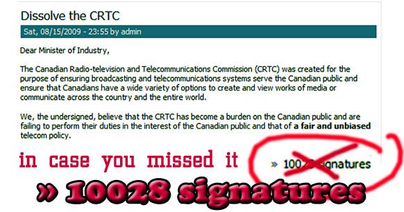dissolve the crtc signature count