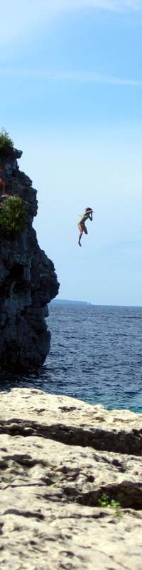 jumping off a cliff at Tobermory