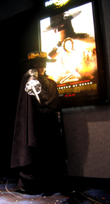 Pint sized Zorro poses in the Galaxy Theatre