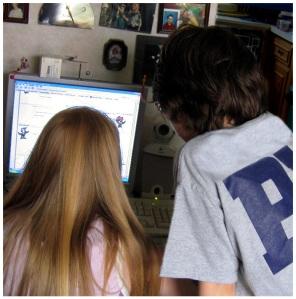 kids at a computer