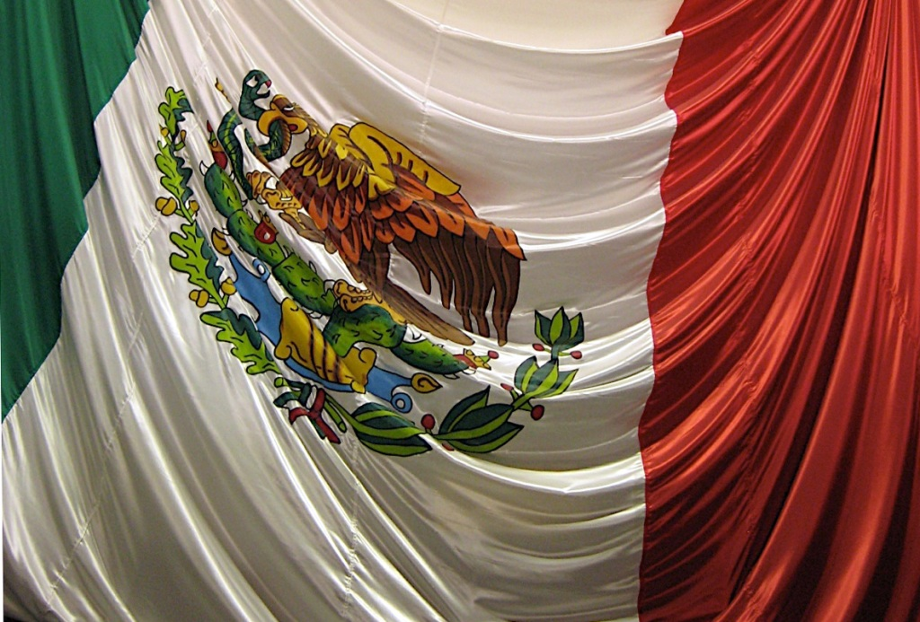 Detail of draped Mexican flag