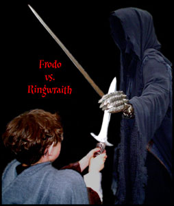 Frodo has sting raised but the Rinwraith hasstopped the blade in its hand.