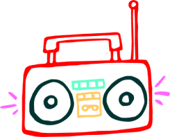 boombox graphic by Linda Kim, Public Domain clip art