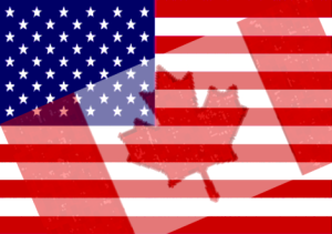 Canadian & American Flags merge
