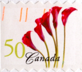 Canada Post Red flowers 50 cent cancelled stamp