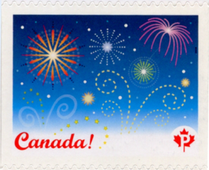 A graphic of fireworks on a Canada Post Permanent Stamp