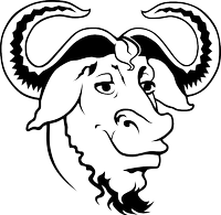 Free Software Foundations line drawing of the GNU mascott/logo