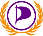 Logo made of a purple letter P formed by a pirate sail enclosed in a circle surrounded by gold laurel leaves