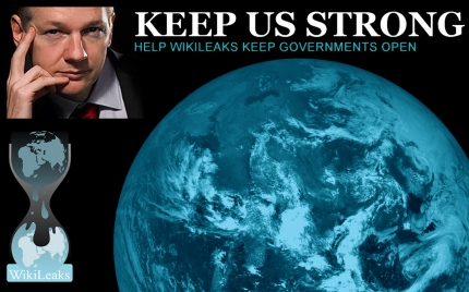 "top left Julian Assange, top right ""Keep Us Strong"", bottom left WikiLeaks Logo, bottom right Earth from space"