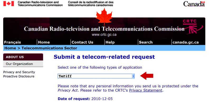 """Screen shot of the CRTC submission page with """"tariff"""" selected amd a red arrow pointing to it"""