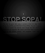 Screen capture of the Stop Sopa Dark Screen