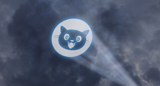 "The Internet Defense League's ""Cat Symbol"" projected in the sky"