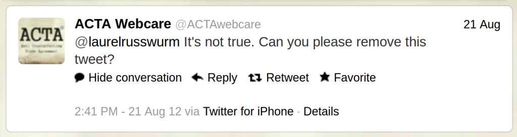 @ACTAwebcare said:  @laurelrusswurm It's not true. Can you please remove this tweet?