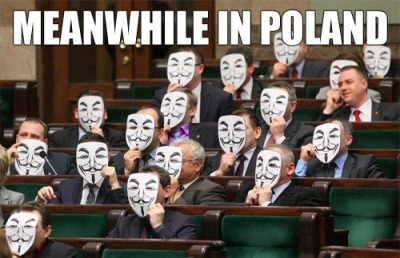 In the Polish Parliament members of the libertarian 'Ruch Palikota' donning Guy Fawkes masks