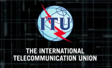 ITU Logo a red lightning bolt on a globe