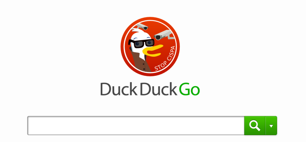 The DuckDuckGo duck wears sunglasses while being watched by CCTV cameras